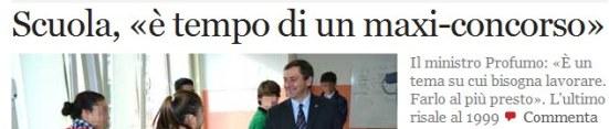 Notizia sul Corriere su un nuovo possibile concorso per la scuola