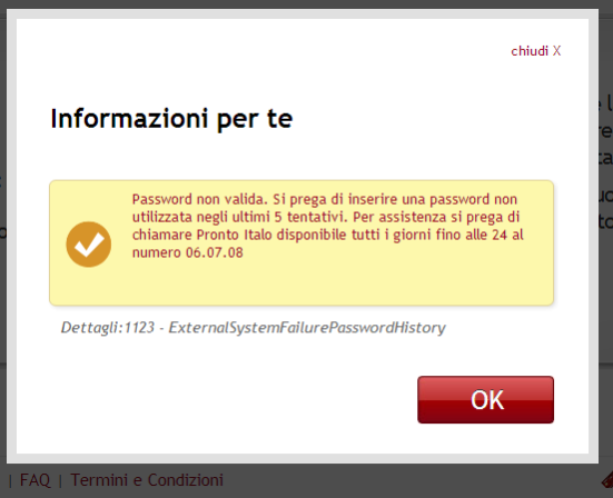 Errore sulla password Italo