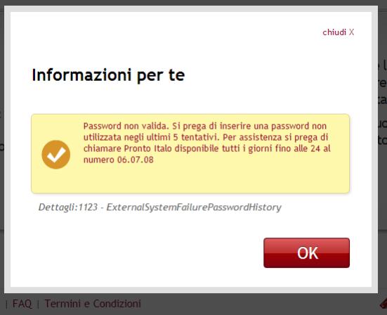 Errore sulla password Italo